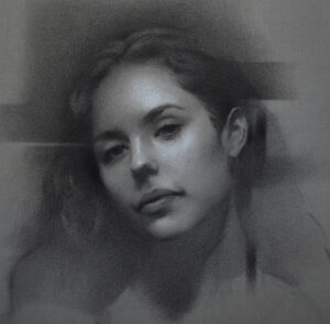 Portrait Kohle auf getönten Papier